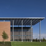 Texan military hospital by RTKL features slatted sun shades based on skin grafts