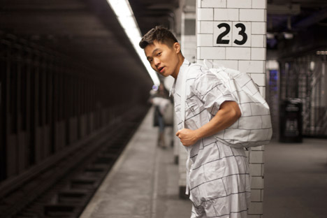 Snarkitecture's Architectural Camouflage garments feature subway tiles and marble