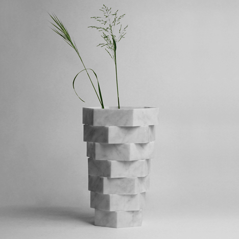 Italian designers continue marble tile recycling project with Little Gerla vases