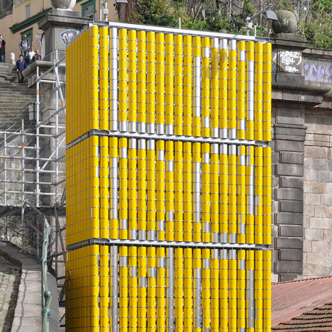 Moradavaga uses spinning tin cans to turn a tower into an interactive billboard