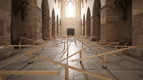 Zimoun installation at Klangraum Krems church in Austria