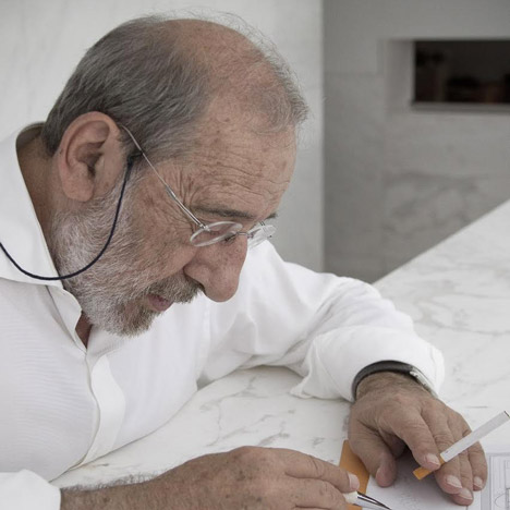 Portrait of Alvaro Siza, who is planning his first US project, a luxury tower in Manhattan