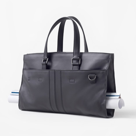 Nendo's Architect Bag for Tod's holds long drawings in its middle