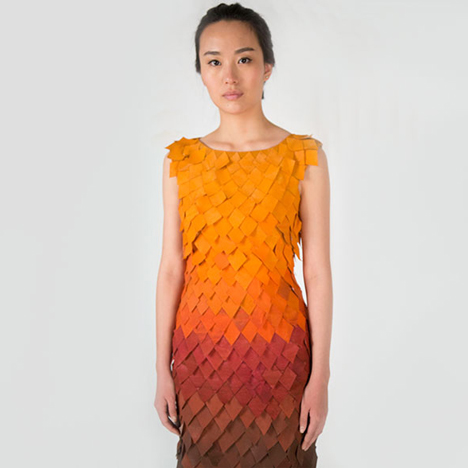 Interactive dress by Birce Ozkan drops its panels like autumn leaves