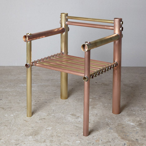 Metalware Copper/Brass Armchair by Max Lamb