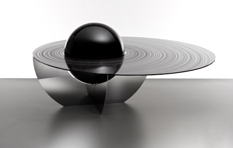 Boullee Table Black Sphere by Brooksbank & Collins