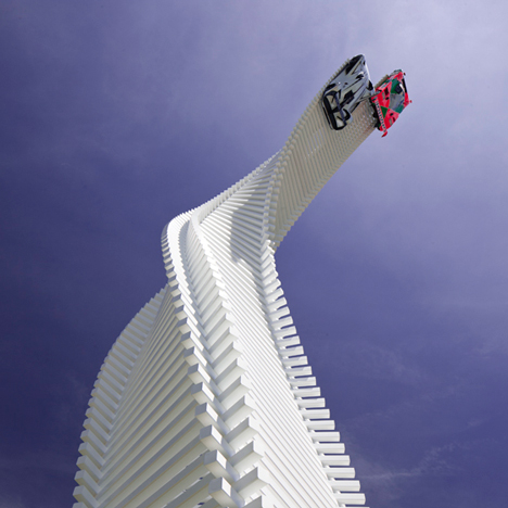 Enzo Mari knife inspires twisting sculpture at Goodwood 2015