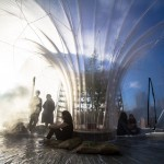 Inflatable dome on the banks of the River Thames is filled with aromatic fog