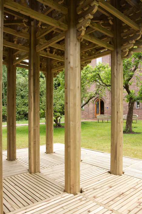 Japanese wooden temple at Dorich House Museum by Kingston University students