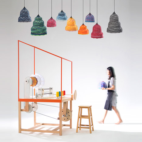 THINKK Studio's Lanna Factory machine produces customisable lampshades