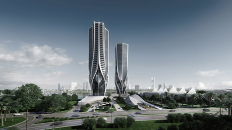 Mariner's Cove towers by Zaha Hadid