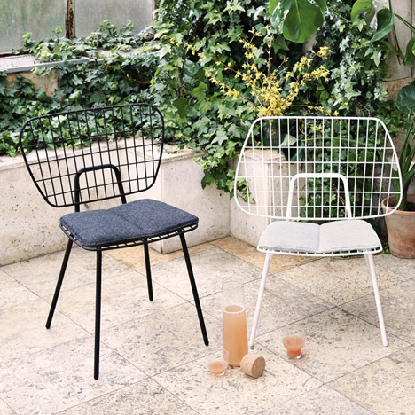 Menu's WM String chairs have matching but inverted wire backs