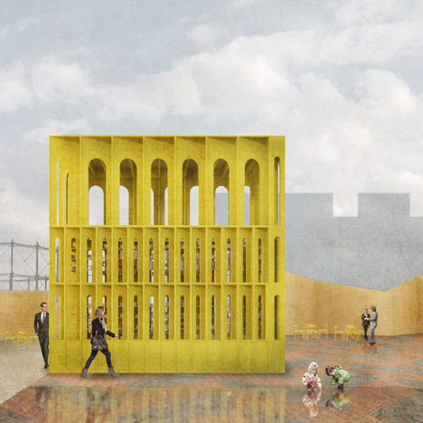 New-Horizons-LFA-Red-Yellow-Pavilion-Hall-McKnight_TAKA-Clancy-Moore-Steve-Larkin_dezeen_2