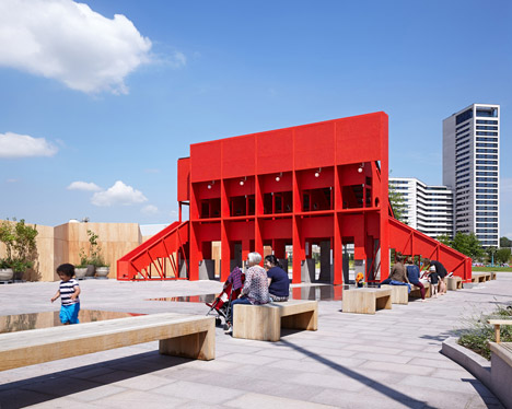 New-Horizons-LFA-Red-Yellow-Pavilion-Hall-McKnight_TAKA-Clancy-Moore-Steve-Larkin_dezeen_468_24