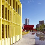 Architects from Dublin and Belfast install red and yellow pavilions at London's King's Cross