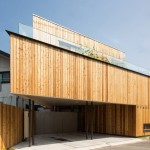 Takeno Nursery by Suga Architects Office hides a two-storey garden behind its wooden walls