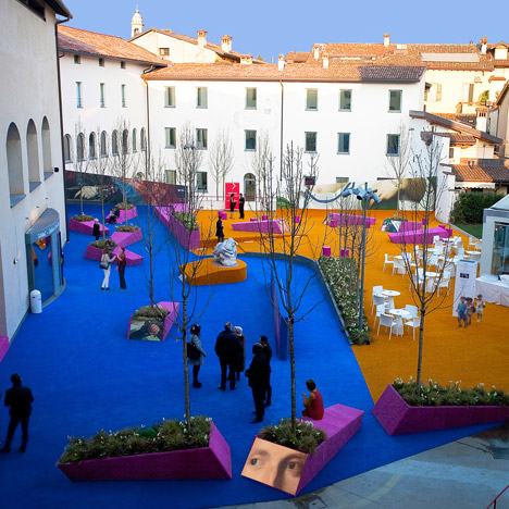 Studio Fink covers Italian art museum courtyard with brightly coloured astroturf