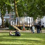 Pop-up office created around a tree trunk in London's Hoxton Square