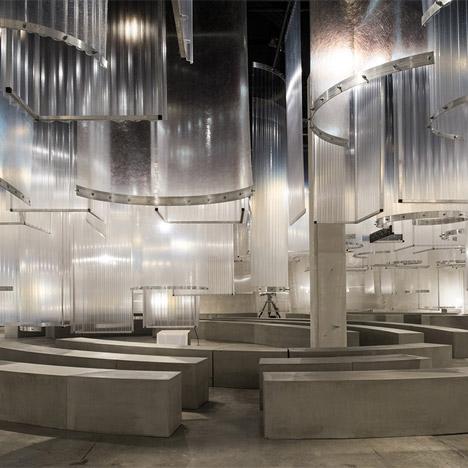 "AMO installs translucent ""stalactites"" above Prada Spring Summer 2016 catwalk"