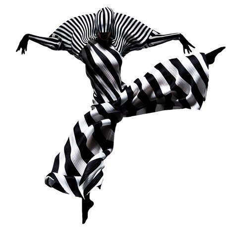 Francis Giacobetti photographs leaping dancers wearing Issey Miyake's pleated garments