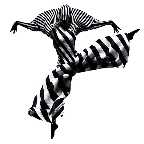 francis giacobetti photographs leaping dancers wearing issey miyakeus pleated garments