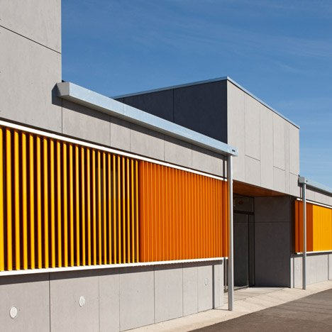 La Canaleta School by 2260mm features a facade of colourful louvres