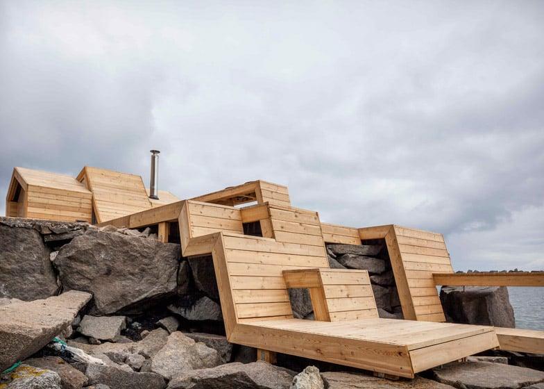 Cool This Wooden Sauna Steps Over The Norwegian Landscape Machost Co Dining Chair Design Ideas Machostcouk