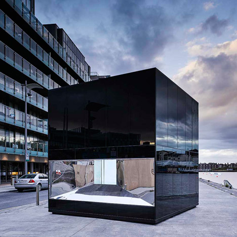 Glossy black pavilion in Dublin presents Ireland's oil consumption