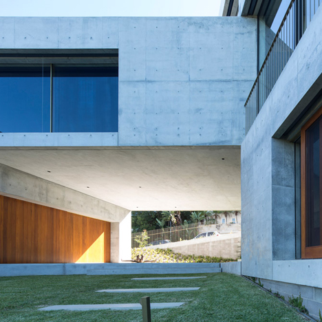 Concrete blocks frame a private sculpture collection at Balmoral House in Sydney