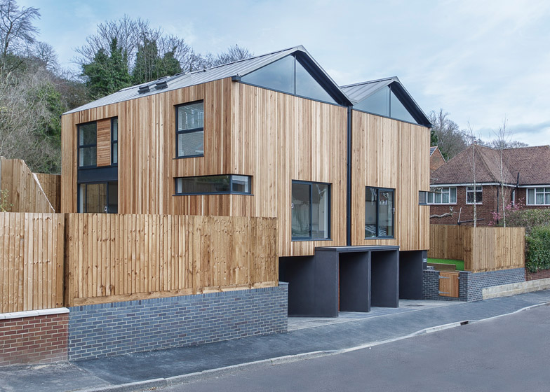 Twin Wooden Houses By Adam Knibb Architects Are Raised Up
