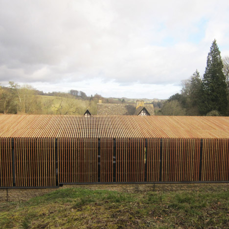 Feilden Clegg Bradley Studios designs larch-clad shelter for Roman ruins