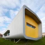 Tube-shaped school canteen built from prefabricated modules in just three months