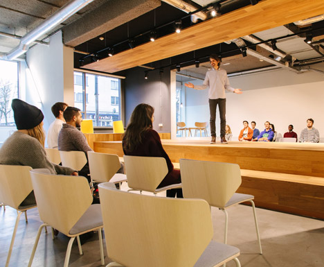Wooden Catwalk Installed In Conference Room To Encourage