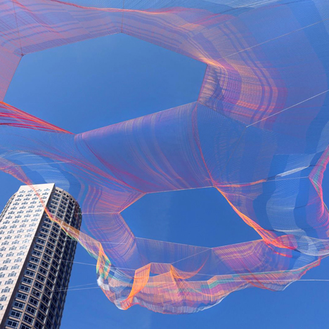 Janet Echelman creates aerial rope sculpture made of super-strength fibres