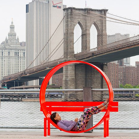 Please Touch the Art exhibition at Brooklyn Bridge by Jeppe Hein