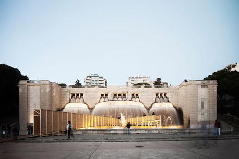 Lisbon Falls installation by Marcelo Dantas at Lisbon's Fonte Luminosa