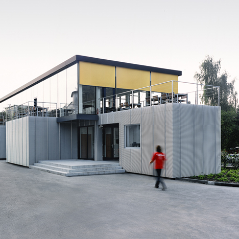 Prefab blocks used to build cafe at a modular construction factory in the Czech Republic