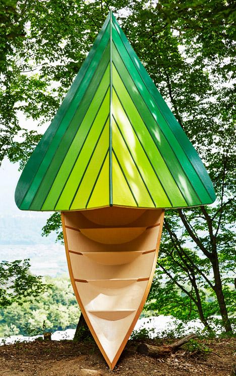 Noma Bar's bird-shaped treehouse provides a vantage point over a Japanese woodland