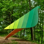 Noma Bar's bird-shaped treehouse provides a vantage point over a Japanese woodland
