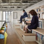 Nikken Space Design's office in Osaka features a bleacher-style bookcase