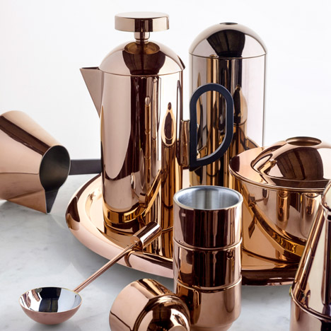 Tom Dixon designs Brew coffee set of reflective copper products