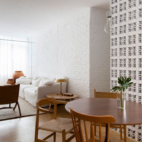 Traditional ceramic blocks feature in Alan Chu's São Paulo apartment renovation