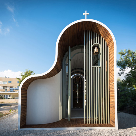 Greek Orthodox chapel in Cyprus by Michail Georgiou features a two-humped profile