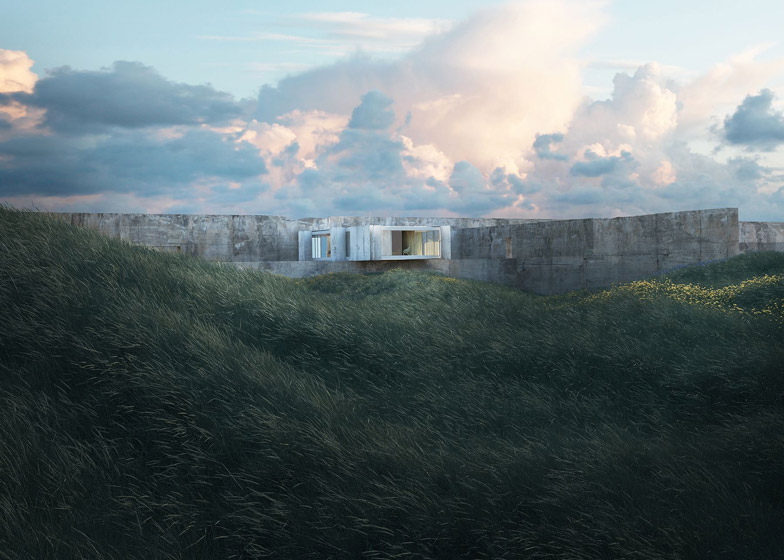 An imaginary house in a wild seaside landscape