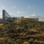 Photo-realistic renderings depict an imaginary house in a wild seaside landscape