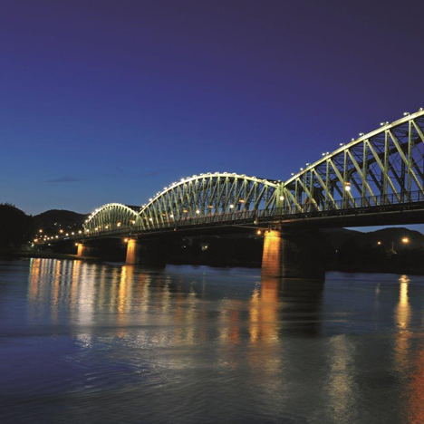 The existing 120-year-old railway bridge over the Danube river in Linz