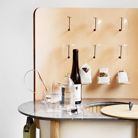 Cecilie Manz designs canvas and wood version of a hotel mini-bar