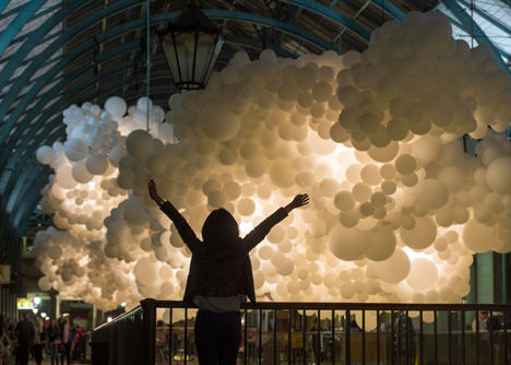 Charles Petillon Heartbeat balloons installation at Covent Garden market London