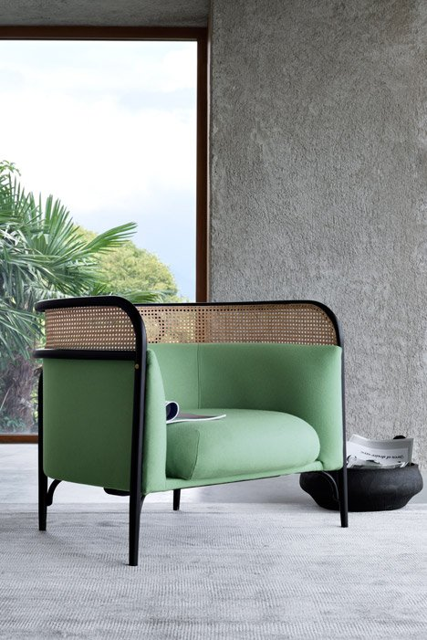 GamFratesi pairs bent wood and rattan for Gebrüder Thonet furniture line