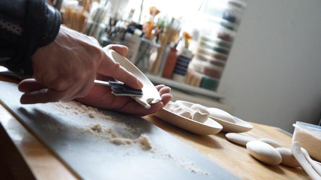 Sculptor David Neat using a Happaratus prototype to carve balsa wood